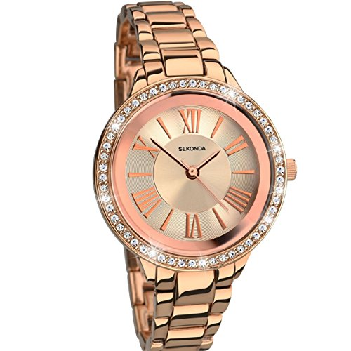 Sekonda Editions Stone Set Dial Rose Gold Bracelet Ladies Fashion Watch 2120 Best Price and Cheapest