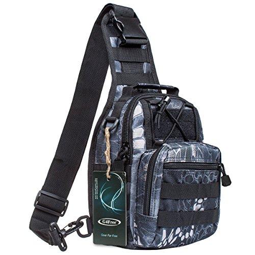 S-ZONE Leichte Tactical Sling Rucksack Militär Schultertasche Umhängetasche EDC Brusttasche für Outdoor Sport Camping Wandern G-Jungle Camo