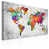 decomonkey Bilder Weltkarte 120x80 cm 1 Teilig Leinwandbilder Bild auf Leinwand Vlies Wandbild Kunstdruck Wanddeko Wand Wohnzimmer Wanddekoration Deko bunt Welt Karte Landkarte Kontinente
