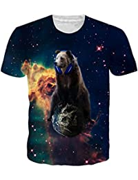 uideazone Mens 3D Print Hipster Short Sleeve Shirt Casual Graphics Tees