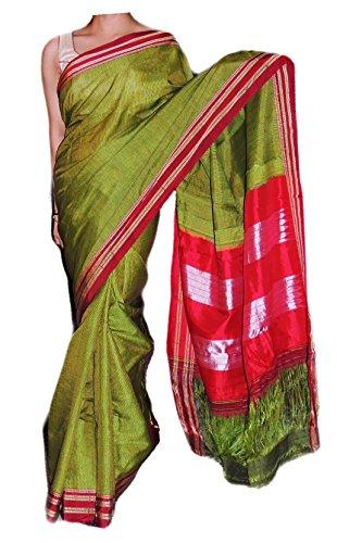 Addra Weaving Attires Women's HANDLOOM WOVEN NAUVARI SILK Saree ADR44_GRN_NUVRI_SLK_FREE SIZE