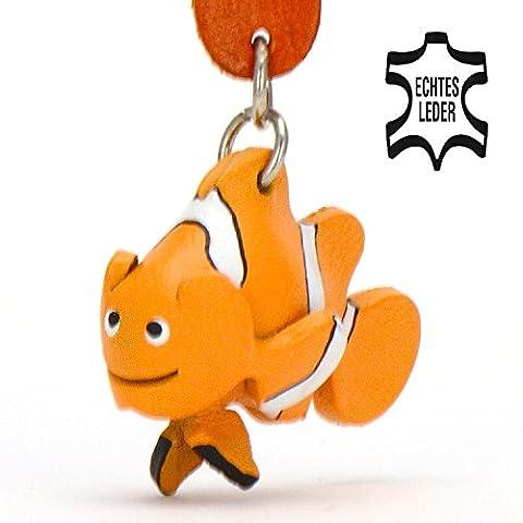 Clownfisch Nemo - Spielzeug Schlüsselanhänger Figur aus Leder in der Kategorie Kuscheltier / Stofftier / Plüschtier von Monkimau in weiß orange - Dein bester Freund. Immer dabei! - 5x2x4cm LxBxH klein, jeweils 1 Stück