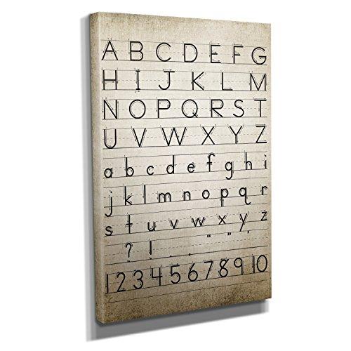 Vintage Alphabet - Kunstdruck auf Leinwand (40x60 cm) zum Verschönern Ihrer Wohnung. Verschiedene Formate auf Echtholzrahmen. Höchste Qualität.