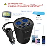 Car Cup Charger, CHGeek USB Car Charger 12V/24V Multi Function Car Power Adapter with Dual USB Ports 3.1A + 2-Socket Cigarette Lighter Splitter for iPhone iPad, Android Samsung, GPS, Dashcam - Black