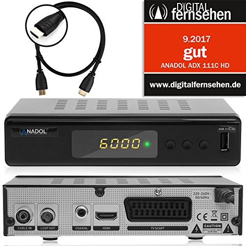 Anadol ADX 111c digitaler Full HD Kabel-Receiver [Umstieg Analog auf Digital] inkl. XAiOX® HDMI Kabel (HDTV, DVB-C / C2, HDMI, Chinch-Video, Mediaplayer, USB 2.0, 1080p) [autom. Installation]- schwarz