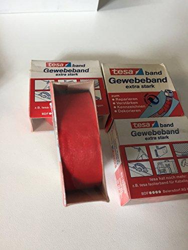 Tesa Gewebeband rot extra stark 2,75m x 19mm 4er