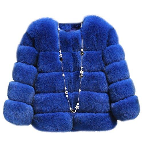 Gladiolus donna breve sottile faux di pelliccia cappotto manica lunga giacca cappotti saphirblau xl
