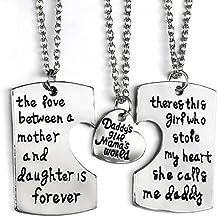 JewelryWe Juego de Collares para Familia, Colgante de Placas Grabadas para Padre Madre e Hija Collar de Mensajes Original, Buen Regalo para Día del Padre/ Madre/ Niño