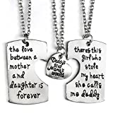JewelryWe Juego de Collares para Familia, Colgante de Placas Grabadas para Padre Madre e Hija Collar...