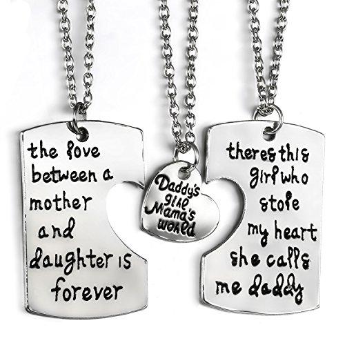 Jewelrywe set collari collane da famiglia, ciondolo rame inciso padre madre e figlia originale collana messaggi, buon regalo per la festa del papà
