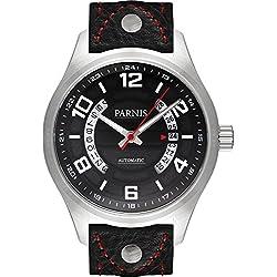 PARNIS Herren Flieger Automatikuhr 3246 Saphirglas Datumsanzeige 10BAR massiv Edelstahl Miyota Uhrwerk Ø43mm