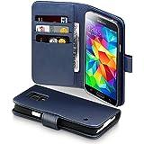 Terrapin Echt Leder Brieftasche Case Tasche mit Kartenfächer und Bargeld für Samsung Galaxy S5 Hülle - Blau