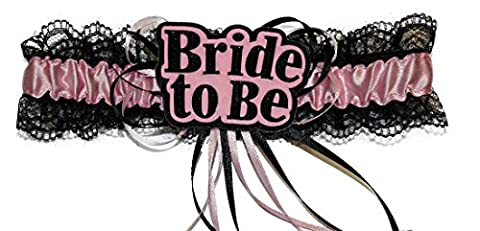 Hen Night Sexy Bride To Be Lace Satin Garter Pink Black Accessory Bridal Party