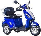 Lunex Dreirad ElektroRoller E-Scooter Elektromobil 25 km/h 500W Koffer 3 Rad Seniorenfahrzeug Seniorenmobil Elektrostuhl (Blau)