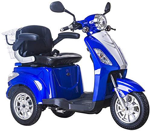 Dreirad ElektroRoller E-Scooter Elektromobil 25 km/h 500W Koffer 3 Rad Seniorenfahrzeug Seniorenmobil Elektrostuhl (Blau)