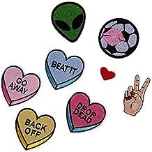 8pcs bordado UFO Alien corazón Sew hierro en parche insignia bolsa sombrero Cap Jeans Applique Craft