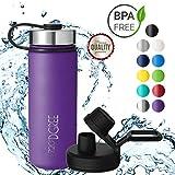 720°DGREE Edelstahl Trinkflasche noLimit 530 ml, 0,5l | Neuartige Thermosflasche +Gratis Sportdeckel | Auslaufsichere Isolierflasche | Perfekte Outdoor Sportflasche für Kinder