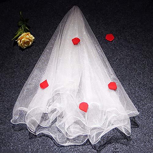 LINLIN Short Veil Bridal Weiche Spitze Applique Tüll Glänzende Hochzeitskleid Zubehör Elegant für Braut und Brautjungfern,A (Glänzende Ritter Kostüm)