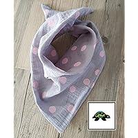 Halstuch - Dreieckstuch Baby grau große Punkte in rosa aus Musselin