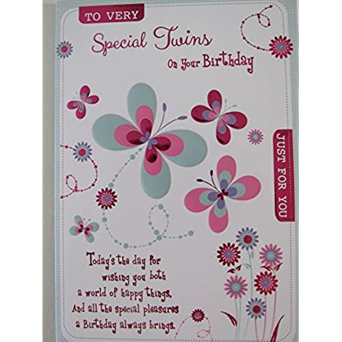 Twins birthday cards amazon twin girls birthday card to very special twins just for you butterflies m4hsunfo