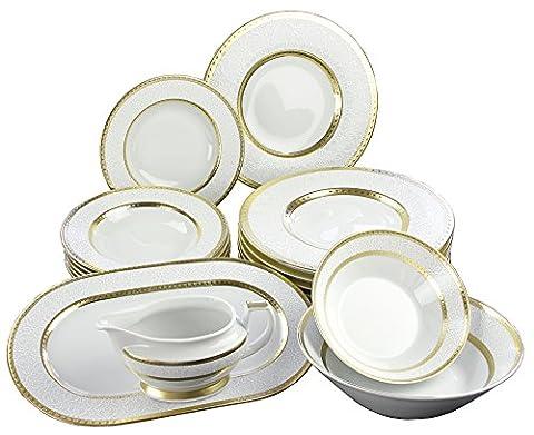 Falkenporzellan 4260428120049 Tafelservice 16-teilig, Diamond weiß /