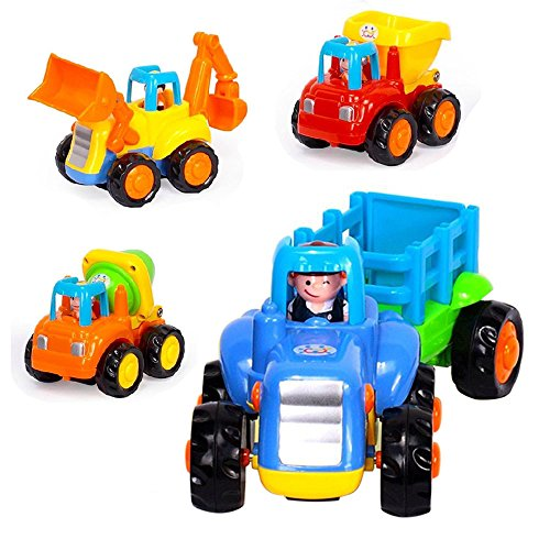 OneCreation Push and Go Car Toys Car for Toddler Baby - Friction Powered Play Vehicles Set - Dump Truck, Cement Mixer, Bulldozer, Tractor - UK Stock