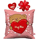 indibni Hug Me Cushion Cover 12x12 with Filler - Pink Unique Funky Valentine Gift for Boyfriend Girlfriend Husband Wife Him Her