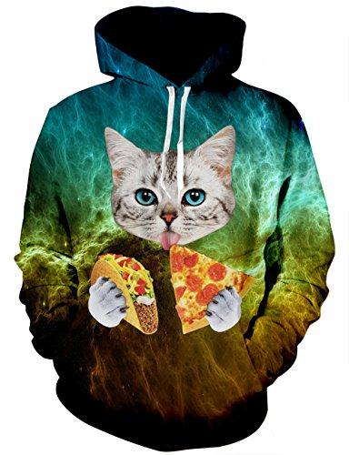 LAIDIPAS Personality Mens Wolf Hoodie Pullover Graphic Sweatshirts mit großen Taschen S (Grumpy Girl)