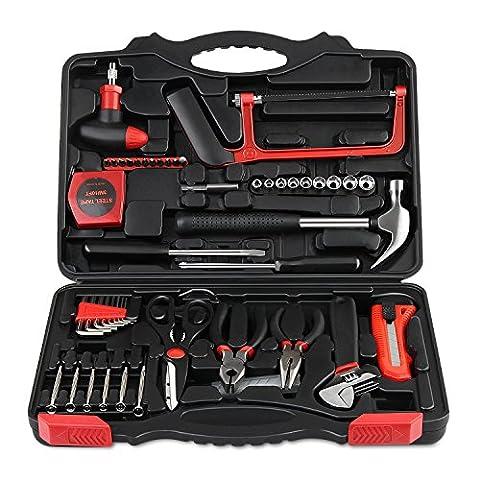 INTEY Mallette à Outils 57 Pièces Boîte à Outils Ensemble D'Outils DIY Coffret d'assemblage Trousse à Outils de Réparation Pour Ménage avec Boîte à outils en