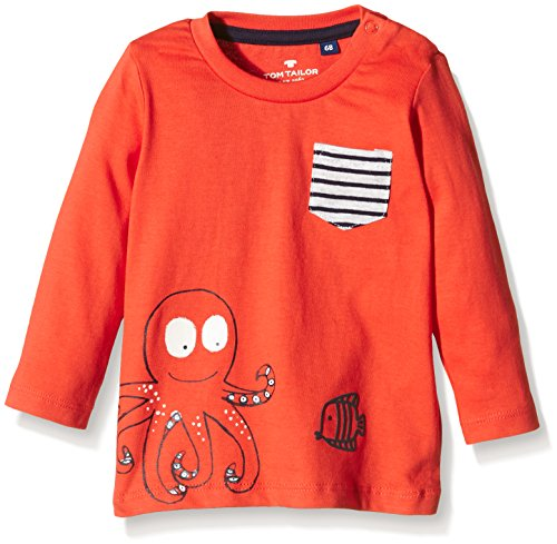 TOM TAILOR Kids Baby - Jungen T-Shirt with octopus print/602, Gr. 92, Rot (grenadine red 4045)