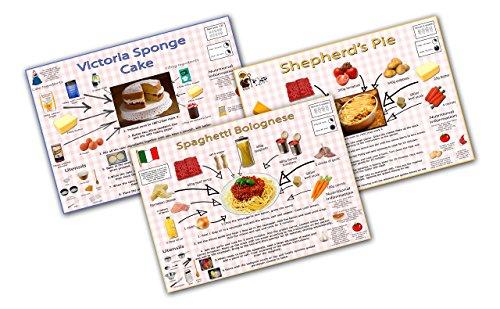 Einfache Rezepte für Kinder Poster Set–Shepherd 's Pie, Spaghetti Bolognese, Victoria Schwamm A3