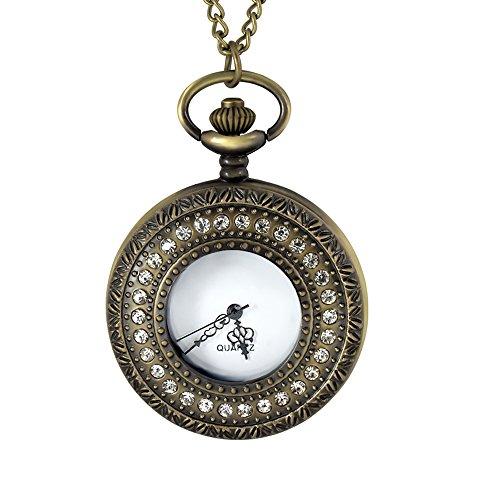 Antik Gold Zirkonia Quarz Taschenuhr Kette Halskette Anhänger Geschenk