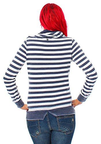 M.O.D Pull Femmes Pull Sweatshirt Haut à manches longues SW117 Bleu Marine Rayure