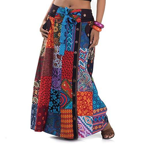 Tribal Kostüm Von Indien - Langer Hippie Batik Patchwork Gypsy Zigeuner Rock S M 36 38 40