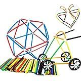 4D Plastic Pailles Blocs de Construction Roues Connecteurs Blocs Jouets Jouets Éducatifs Set Construction Jouets Cadeau de Noël pour les Enfants 284 Set - CreaTion