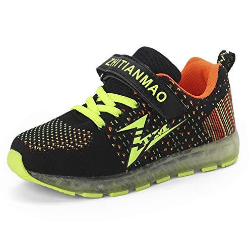 Bruce Wang Kinder LED Schuhe 7 Farbe USB Aufladen LED Leuchtend Sport Schuhe Sportschuhe Light up Atmungsaktiv Sneaker Jungen Mädchen (28 EU, Schwarz ()