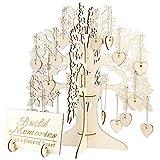 Sylvialuca Hochzeit Gästebuch Baum Besuch Zeichen Gästebuch Holz Herzen Anhänger Tropfen Ornamente Für Hochzeitsfest-Dekoration Lieferungen - Holz
