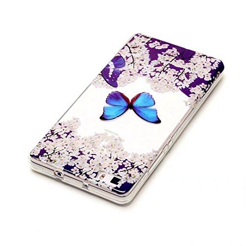 KSHOP cover iPhone 7 (4.7) Custodia TPU Silicone Slim respiratore protettivo Shockproof iPhone 7 (4.7) caso anteriore e posteriore corpo pieno Cover copertura gel-resistenza - fiori farfalla blu fiori K04