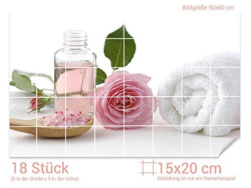 De Rose Designs Bad (Graz Design 761372_15x20_60 Fliesenaufkleber Bade-Salz/Rose für Kacheln | Bad-Fliesen mit Fliesenbildern überkleben (Fliesenmaß: 15x20cm (BxH)//Bild: 90x60cm (BxH)))