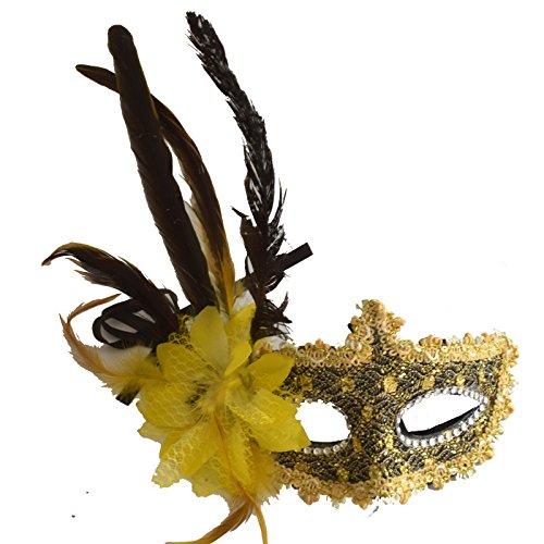 he Venetianische mit Blume und Feder #4 Maske Maskerade Karneval Fasching Verkleidung Kostüm Halloween Party Maskenball Ball Shades of Grey Mr Grey Mitternacht ()