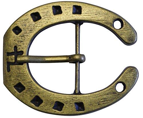 Brazil Lederwaren Gürtelschnalle Hufeisen 4,0 cm | Buckle Wechselschließe Gürtelschließe Reitaccessoires 40mm Massiv | für Reit-Outfit | Dorn-Schließe