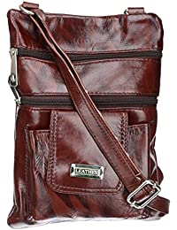 The Girls Criss Cross Genuine Leather Sling Bag (Brown) By Maskino Leathers