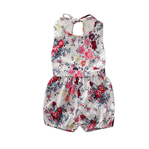 squarex Infant Baby Girl Kid ärmellose Strampler mit Blumenmuster Jumpsuit Lace Romper Jumpsuit Outfits Sommer Cute Jumpsuit Casual ()
