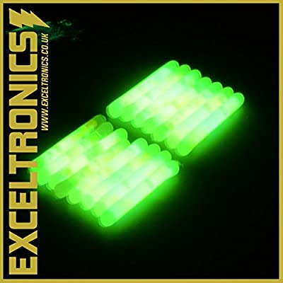 GLOW STICKS SEA COARSE CARP FISHING FLOAT FLUORESCENT ROD TIP NIGHT FISHING GLOW STICK LIGHTS x 25 (WITH FREE BOX) by Exceltronics