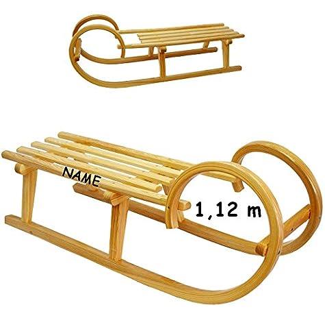 großer Holzschlitten / Hörnerschlitten - 1,12 m lang - aus stabilen Holz - incl. Name - für Kinder & Erwachsene - universal passend - Lattensitz Schlitten - Kinderschlitten / Erwachsenenschlitten- Davoser - Davos / Babyschlitten Hörnerrodel - Rodelschlitten / (Hörnerschlitten Mit Rückenlehne)