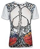 Mirror Herren T-Shirt - Peace Lebensbaum Größe M L XL Kunst Psychedelic Art Baum Des Lebens Goa Techno (Weiss L)