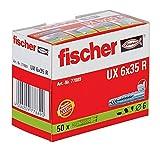 Fischer 77889 Universaldübel UX 6 x 35 R mit Rand, 50 Stück