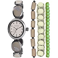 Kahuna Women's Quartz Watch with Beige Dial Analogue Display and Silver Bracelet KLB-0033LSTK
