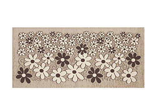Biancheriaweb tappeto passatoia runner cucina antiscivolo antimacchia lavabile margherite 55x140 tortora