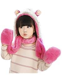 bc7ca19dc Kids Hat Glove Scarf 3 In 1 Set Girls Winter Cartoon Kits Warm Hoodie Sheep  Hats